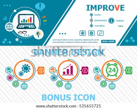 Improve design concepts and abstract cover header background for website design. Horizontal advertising business banner layout template