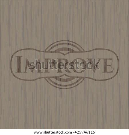 Improve wooden emblem - stock vector