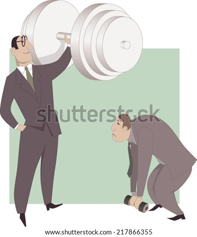 Improving business performance. A businessman easily pushing a huge dumb-bell while his colleague is not able to lift a small one, a metaphor for a difference in work performance - stock vector