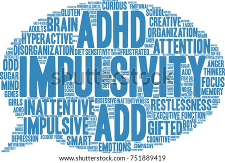 Impulsivity ADHD word cloud on a white background.