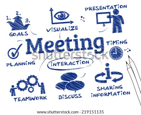 In a meeting, two or more people come together to discuss one or more topics, often in a formal setting - stock vector