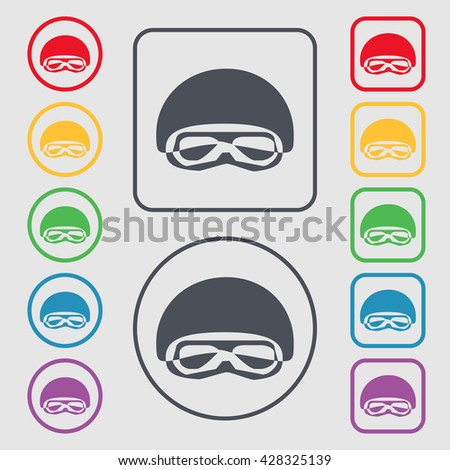 In a ski masks, snowboard ski goggles, diving mask icon sign. symbol on the Round and square buttons with frame. Vector illustration - stock vector