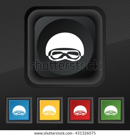 In a ski masks, snowboard ski goggles, diving mask icon symbol. Set of five colorful, stylish buttons on black texture for your design. Vector illustration - stock vector