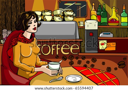 In cafe - stock vector