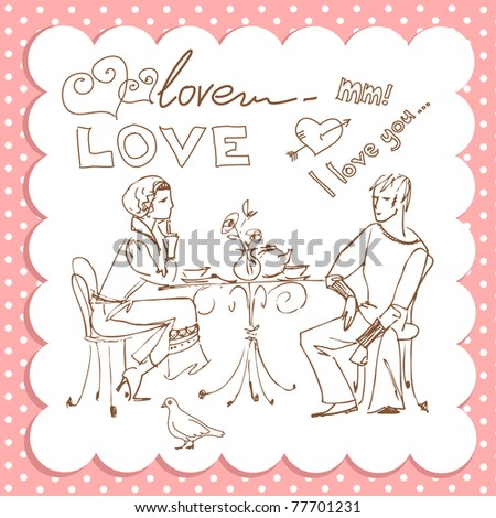 In Cafe and in Love - stock vector