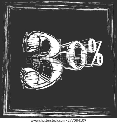 in chalk on the board 30% - stock vector