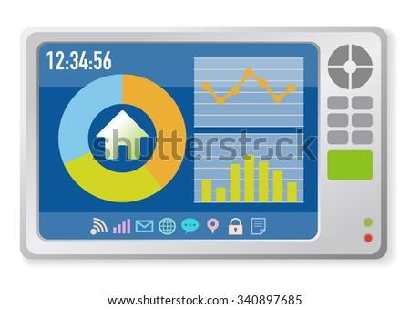 In Home Display, Smart Home Monitor, Smart Meter, vector illustration - stock vector