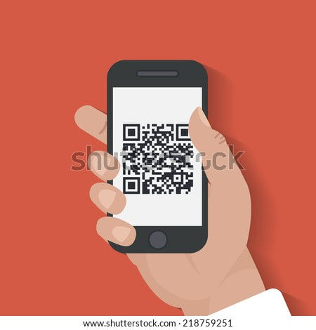 In human hands Mobile phone scanning qr-code icon. Near field communication technology concept. Isolated on red background. Flat design style vector illustration. - stock vector