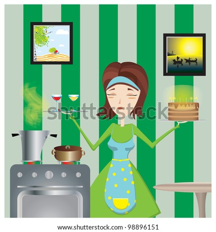 in kitchen - stock vector