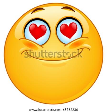 In love emoticon - stock vector