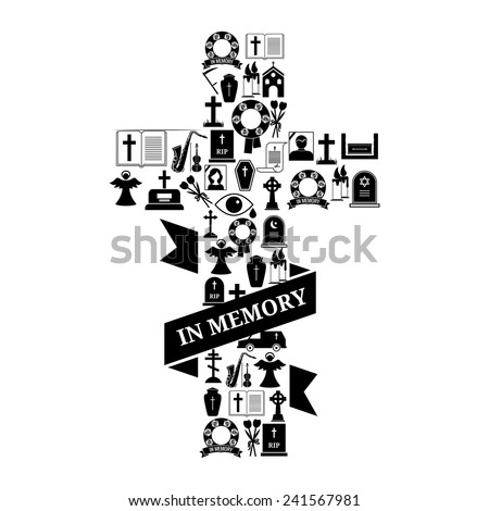 In Memory Concept - Black and White Funeral Cross Icon Graphic Design with Text on White Background. - stock vector