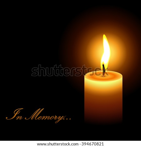 In memory mourning candle light vector background. - stock vector