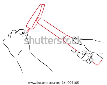 In one hand and a hammer in another nail, hand swung over a nail with a hammer. Pencil A vector drawing on the theme of construction.