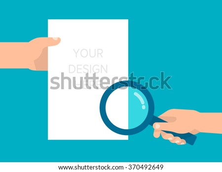 In one hand holds blank paper sheet, the other hand holds a loupe. Communication, message, business concept. Template for your design. Isolated vector illustration flat design. - stock vector