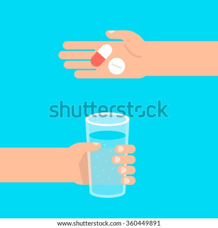 In one hand holds glass of water, the other hand holds pills. Healthcare, medication  concept. Isolated vector illustration flat style. - stock vector