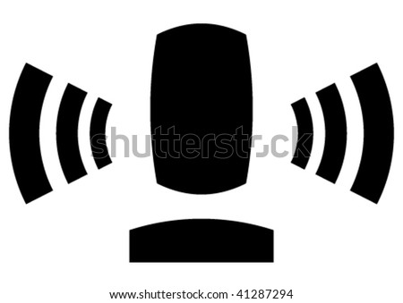 In sign you can discern the microphone on a stand that is spreading radio waves and human contour. - stock vector