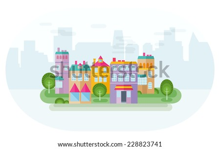 In suburb. Green district of suburb with colorful houses and skyscraper silhouettes at background. Flat design style vector illustration. Vector file is EPS8. - stock vector