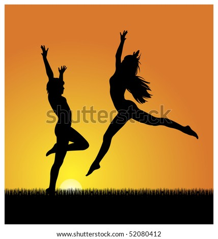 In the center of illustration, there are two women. In the background the sun shines brightly. Below the grass grow. - stock vector