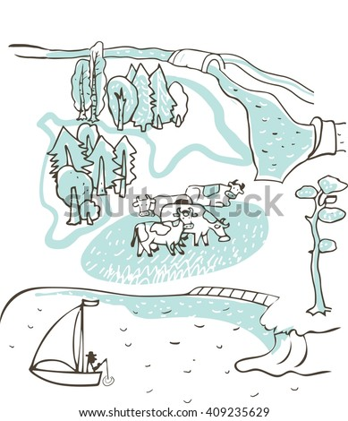 In the countryside. Vector sketch in two colors. It can be used as a set and as a separate graphic. Several cows in a meadow on the shore of the lake. Groups of trees, river, bridge.