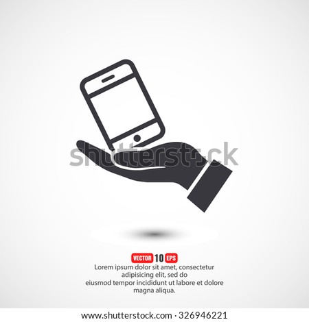 in the hands of the smartphone icon, vector . 10 EPS - stock vector