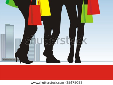 In the illustration centre three pairs feet are located. Near to them bright packages with purchases. On a distance shot the city landscape is visible. - stock vector