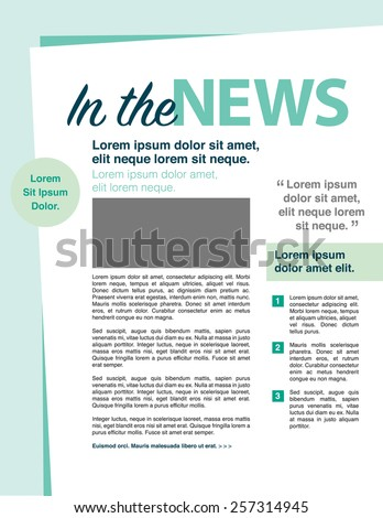 In the news page layout newsletter for use with business or nonprofit - stock vector