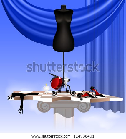 in the sky on the abstract board are the big black dummy, black shoe, lady's glove, red hat, glass of wine and bottle of perfume