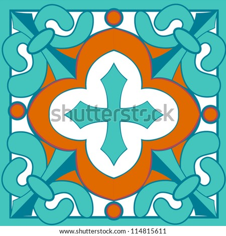 In the style of traditional Talavera tiles, this bright vector is great as a standalone or in a repeating pattern. - stock vector