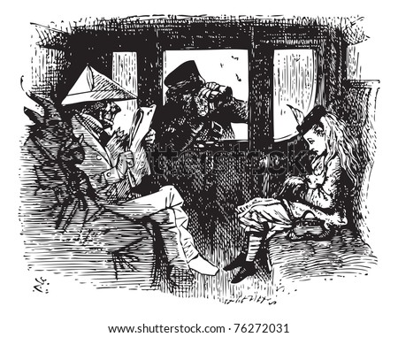 In the Train - Original book engraving. All this time the Guard was looking at her, first through a telescope, then through a microscope, and then through an opera-glass. At last he said... - stock vector