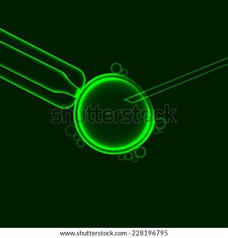 In vitro fertilization, artificial insemination with sperm egg, green vector illustration - stock vector