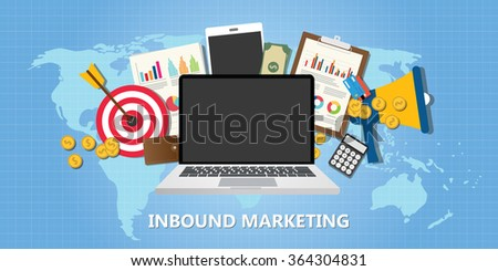 inbound marketing concept with graph data goals target illustration - stock vector