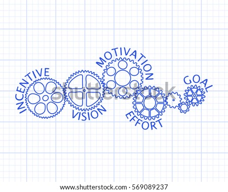 Incentive motivation vision effort goal on stock vector 569089237 incentive motivation vision effort and goal on hand drawn gear wheels graph paper malvernweather Images