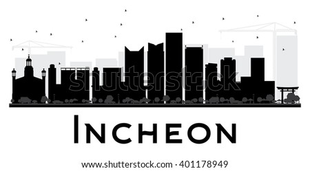 Incheon City skyline black and white silhouette. Vector illustration. Simple flat concept for tourism presentation, banner, placard or web site. Business travel concept. Cityscape with landmarks