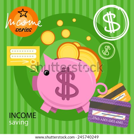 Income saving series. Piggy bank with coins and card, financial savings and banking economy, long-term deposit investment. Flat icon modern design style concept - stock vector