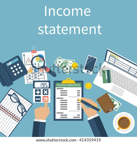 Income statement. Accounting finance. Men write documents, statement of income. Vector illustration, flat design. Counting profit. Report calculation income. - stock vector