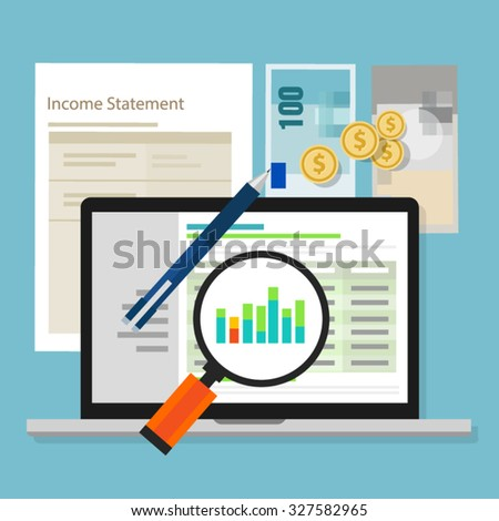 income statement accounting software money calculator application laptop - stock vector