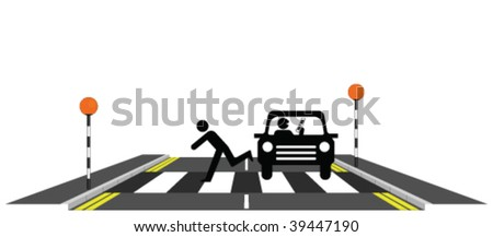 Inconsiderate motorist using mobile phone whilst driving - stock vector