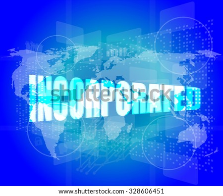 incorporated word on digital touch screen vector illustration - stock vector