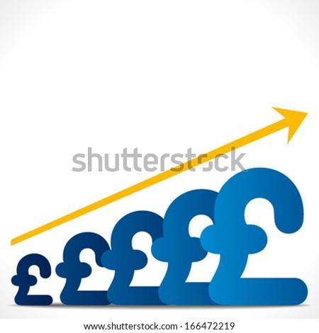 increase growth graph concept , or increase pound graph background vector - stock vector