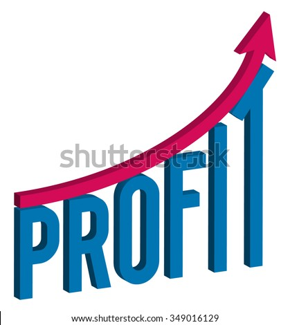 increase profit business concept, 3d letters text profit with graph, isolated illustration on white background - stock vector