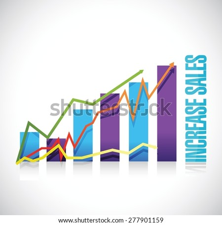 increase sales business graph sign concept illustration design over white