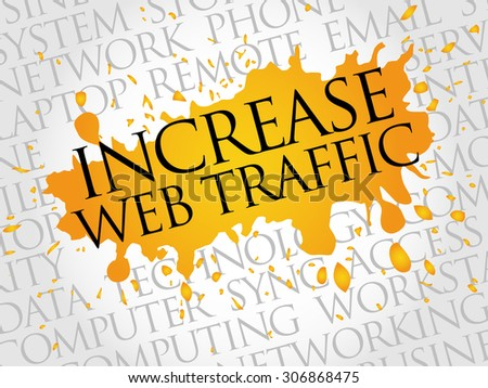 Increase web traffic word cloud concept - stock vector