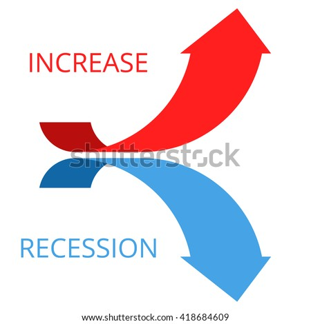 Increasing and recession graph concept. Flat vector illustration of two arrows. Business and science research process development. Isolated infographic elements for web, print, presentation, networks. - stock vector