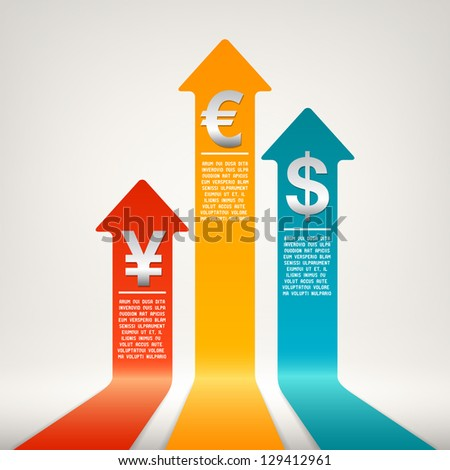 Increasing currency - stock vector