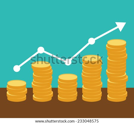 Increasing piles of coins with going up graph. Concept for financial growth. Vector eps10. - stock vector