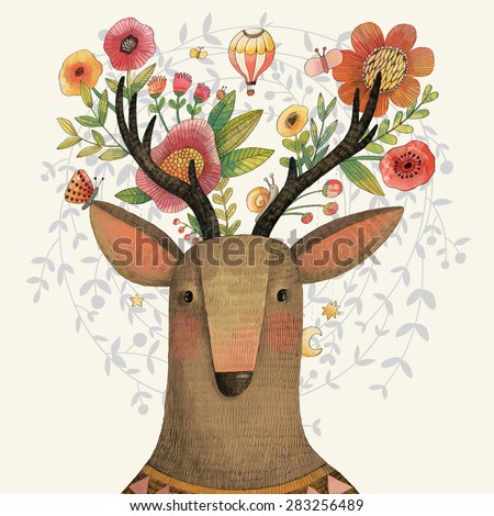 Incredible deer with awesome flowers. Lovely spring concept design in vector. Sweet deer and flowers made in watercolor technique - stock vector