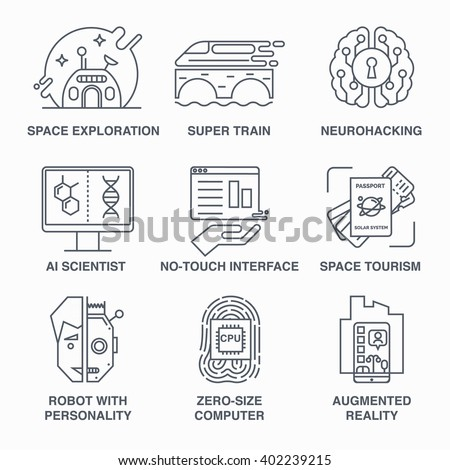 Incredible future technologies line icon set. Robot, high-peed train, space tourism, brain training and others. Main future trends. - stock vector