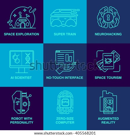 Incredible future technologies line icon set.  Robot, high-speed train, space tourism, brain training and others. Main future trends. - stock vector