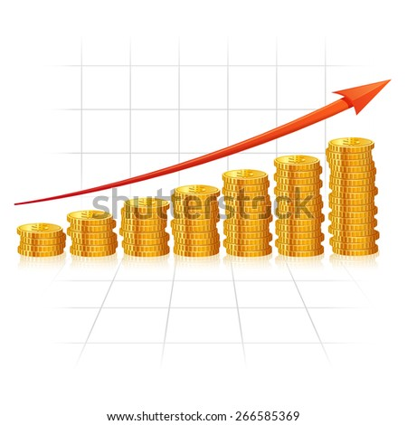Incremental diagram made of realistic golden coins with red growth arrow vector illustration - stock vector