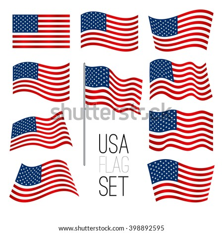 Independence day background. Set of United States flag. USA flag. American symbol. Flag USA.American flag. USA flag set. American flag set. Wavy USA flag. American flag wavy shape. USA. Flag. - stock vector